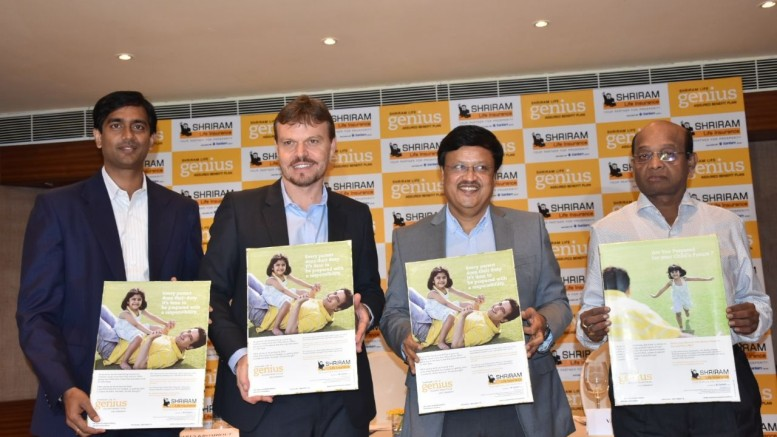(L-R) Dr Varun Kishore,General Manager- Products,  Shriram Life Insurance Co.Ltd. ;  Casparus  Kromhout MD & CEO, Shriram Life Insurance Co.Ltd.;  K R C Sekhar, Executive  Director, Shriram Life Insurance Co.Ltd ; S Subbaiah President, Shriram Life Insurance Co.Ltd.- Photo By Sachin Murdeshwar GPN / 26.11.17