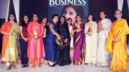 Vidya Balan with all the other award winners at the 'Outlook Business Women of Worth Awards 2017' at Four Seasons, Worli