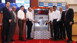 (L-R) : Mr. Satyen Shah, Edelweiss Financial Services Limited, Mr. Pankaj Agrawal, CLSA India Private Limited, Mr. Sanjay Jain, Group Chief Financial Officer, Future Group, Mr. Rakesh Biyani, Chairman, Future Supply Chain Solutions Limited, Mr. Mayur Toshniwal, Managing Director & Chief Executive Officer, Future Supply Chain Solutions Limited, Mr. PV Sheshadri, President, Future Supply Chain Solutions Limited, Mr. Neeraj Kulshrestha, Chief Business Operations, BSE Ltd and Mr. Utpal Oza, Nomura Financial Advisory & Securities (India) Private Limited at the gong on the occasion of the listing ceremony of Future Supply Chain Solutions Limited held today in Mumbai at the BSE.- Photo By Sachin Murdeshwar GPN (Global Prime News)