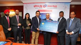 (L to R) Mr Daljit Singh,Sr.Director-Business Development, VISA,Mr Vaibhav Taranekar,Sr.Director-Client Support Services,VISA,Ms.Manmeet Vohra,Marketing Head-India South Asia, VISA,Mr.Arvind Ronta,Vice President-Consumer Product, VISA, Mr.Sandeep Kumar Hisaria, Hisaria Group, Mr Rajkiran Rai G, Managing Director & CEO,Union Bank of India,Mr Raj Kamal Verma, Executive Director, Union Bank of India, at the launch of Contactless Debit Card held at Mumbai. - Photo By Sachin Murdeshwar GPN (Global Prime News)