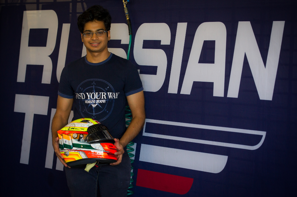 Arjun Maini Driving the Russian Time's Artem Markelov's car, who finished second in the F2 Drivers Championship Series in 2017. Arjun topped the time sheets just after the1 hour mark with a lap of 1:48.645.- Photo By Sachin Murdeshwar GPN / 02.11.17