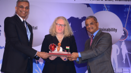 CA. Nilesh S. Vikamsey , President, ICAI along with CA. Naveen N D Gupta, Vice-President, ICAI presenting a memento to Ms. Rachel Grimes, President, IFAC during ICAI International Conference on Dec 8, 2017 at Mumbai.- Photo By Sachin Murdeshwar GPN / 08.12.17