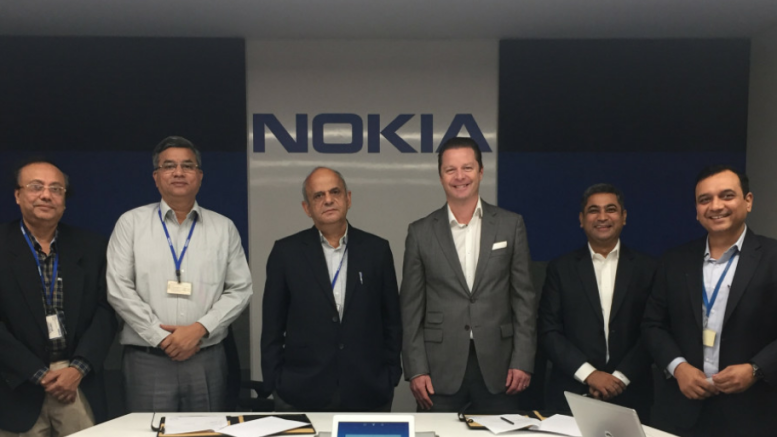 L-R:  Dr. Niladri Chatterjee, Dr.Suddhasatwa Basu, Dr. Bodh. Raj Mehta; from Nokia – Igor Leprince, President -Global Services; Amit Dhingra, Vice President – Global Service Delivery, Samit Seam, Head of Operations - Global Service Delivery, during the signing the MoU, in Delhi - Photo By Sachin Murdeshwar GPN (Global Prime News)