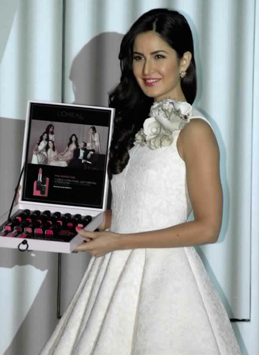 Bollywood actor and brand Ambassdor of LOreal Paris Katrina Kaif during the launch of La Vie En Rose lipsticks by L'Oreal Paris in Mumbai on thursday