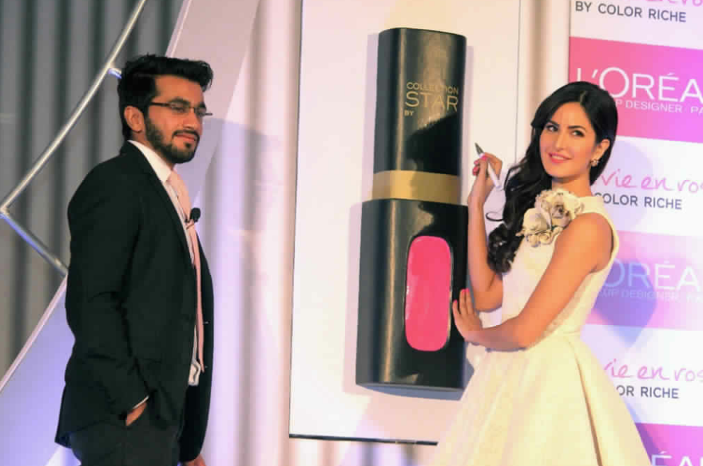 Katrina Kaif with Raagjeet Garg, General Manager, L'Oreal Paris India, at the launch of La Vie En Rose Press Conference