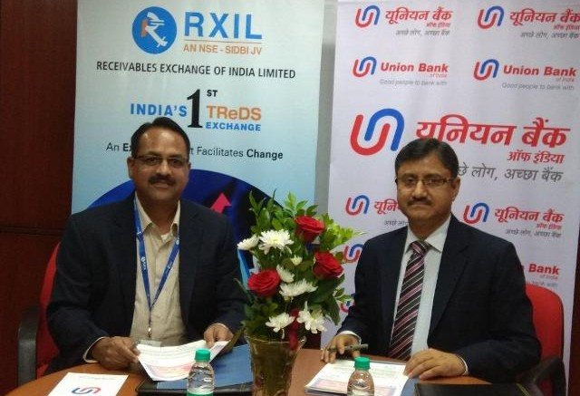 Seen in the photograph is Shri A.K. Dixit, General Manager (Credit Policy & MSME),  Union Bank of India along with Shri Kashinath Katakdhoned, MD&CEO, RXIL on the  occasion of signing of agreement held at Bank's Central Office in Mumbai - Photo By Sachin Murdeshwar GPN / 5.12.17