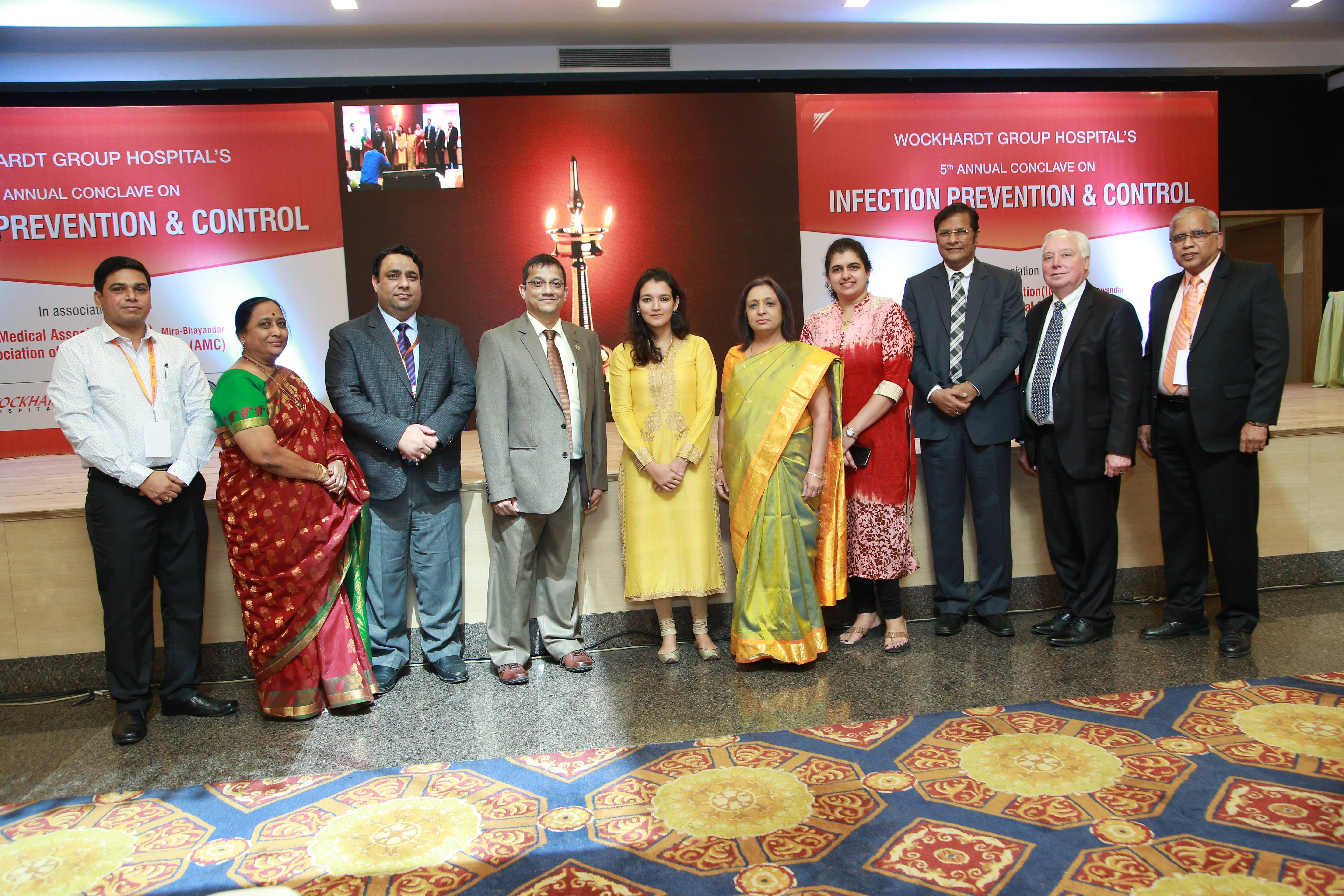 Wockhardt Hospitals' MD, Ms. Zahabiya Khorakiwala; Group Clinical Director, Dr. Clive Fernandes, President, Mr. Anupam Verma & CEO, Dr. Ravi Hirwani during inauguration of hospital's 5th Infection Prevention and Control Conclave in presence of Dr. Girdhar Gyani, Director General, AHPI and Thomas W. Kozlowski, JCI