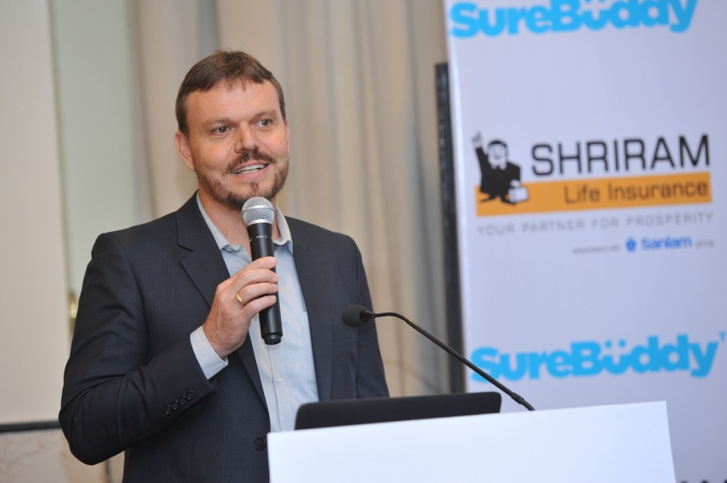 Mr. Casparus Jacobus Hendrik Kromhout, Managing Director & CEO, Shriram Life Insurance Company Limited at the launch of the app in association with SureBüddy - Photo By GPN