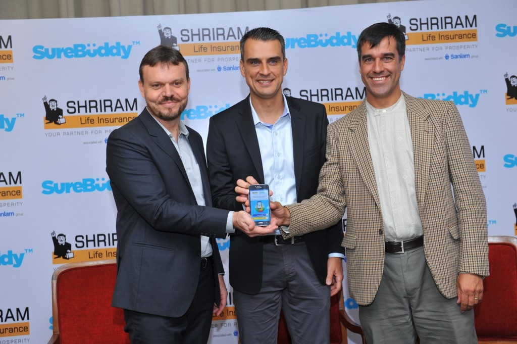 (L-R)  Mr. Casparus Jacobus Hendrik Kromhout, Managing Director & CEO, Shriram Life Insurance Company Limited, Mr. Johan Basson, Co-founder, SureBüddy, Mr. Lodewyk Spies, Co-founder, SureBüddy launching the app - Photo By GPN