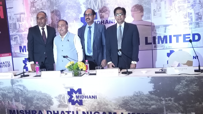 (From Left to Right) – Mr.Narayanan Sadanandan (SBI Capital Markets Limited, Dr. Dinesh Kumar Likhi (Chairman & Managing Director) Mishra Dhatu Nigam Limited's, Mr.Sanjeev Singhal (Director – Finance) Mishra Dhatu Nigam Limited's & Mr.Nalin Kumar (EVP – IDBI Capital Markets & Securities Limited) - Photo By Sachin Murdeshwar