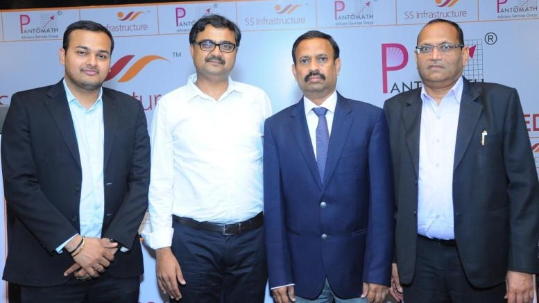 From (left to Right) :  Mr. Saahil Kinkhabwala (Pantomath Capital Advisors Private Limited), Mr. Anand Saklecha - (Director) ASCO Capital Private Limited, Mr. Satyanarayana Sundara- (Chairman cum Managing Director) S.S. Infrastructure Development Consultants Limited & Mr. Paras Doshi - (Chairman) Indo Thai Securities Limited. - Photo By Sachin Murdeshwar
