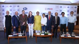 Speaker Panel at the press conference for the announcement of AAPI and USAID association for TB - Free India-Mr. Harish Shah, Joint Secretary, Yusuf Meherally Foundation, Mr. Anwar  Feroz Sidiqi, Chief Strategy Adviser, AAPI, Dr. Xeres Sidhwa, USAID, Ms. Jennifer Larson, Acting Council General, US Consulate Mumbai, Adv. Shri Raj Purohit, MLA of BJP and Chief Whip, Dr. Naresh Parikh, President, AAPI, Dr. Raj Bhayani, Co-Chair GHS 2018, Dr. Narender Saini, IMA and Dr. Purvish Parikh, Chair of Oncology Session - Photo By Sachin Murdeshwar