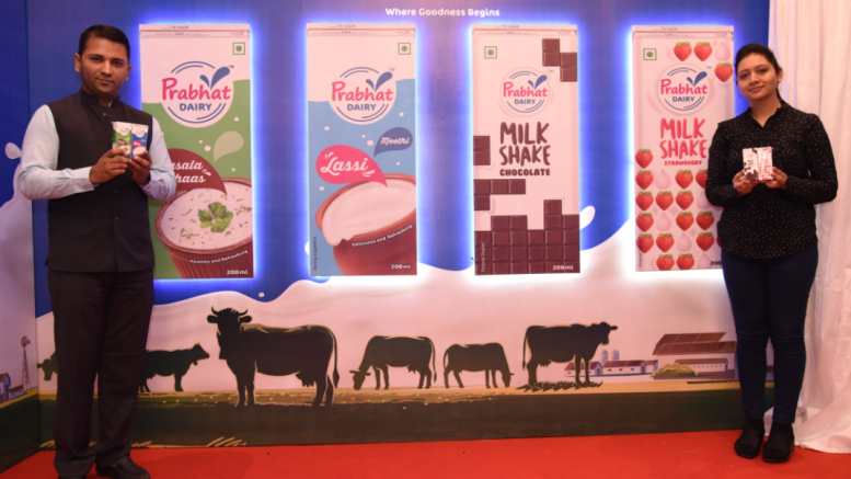 Mr Vivek Nirmal, Joint Managing Director and Mrs Nidhi Nirmal, Chief Marketing Officer, Prabhat Dairy Ltd, unveiling the latest products. Prabhat Dairy also announced the launch of 'Prabhat Goodness Zone', a franchise based flagship store along with its annual financial results FY-2017-18.- Photo By Sachin Murdeshwar