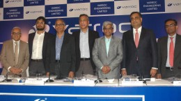 Mr. Mickey Doshi (Credit Suisse Securities (India) Private Limited), Mr. Arjun Jain (President, Electrical BU, Varroc Engineering Limited), Mr. T R Srinivasan (Group CFO, Varroc Engineering Limited), Mr. Tarang Jain (Managing Director, Varroc Engineering Limited), Mr. Ashwani Maheshwari (CEO, India Business, Varroc Engineering Limited), Mr. Ravi Kapoor (Citigroup Global Markets India Private Limited) and Mr. Subhrajit Roy (Kotak Mahindra Capital Company Limited) at Varroc Engineering Limited IPO Press Conference held today in Mumbai.- Photo By Sachin Murdeshwar