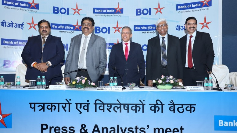 (L-R) : Shri K.V. Raghavendra, GM & CFO, Bank of India; Shri. A.K. Das, Executive Director, Bank of India ; Shri Dinabandhu Mohapatra, Managing Director & Chief Executive Officer, Bank of India; Shri N. Damodharan, Executive Director, Bank of India; Shri. C.G. Chaitanya, Executive Director, Bank of India at the announcement of the Bank's Q1 FY 19 financial results - PHOTO BY GPN