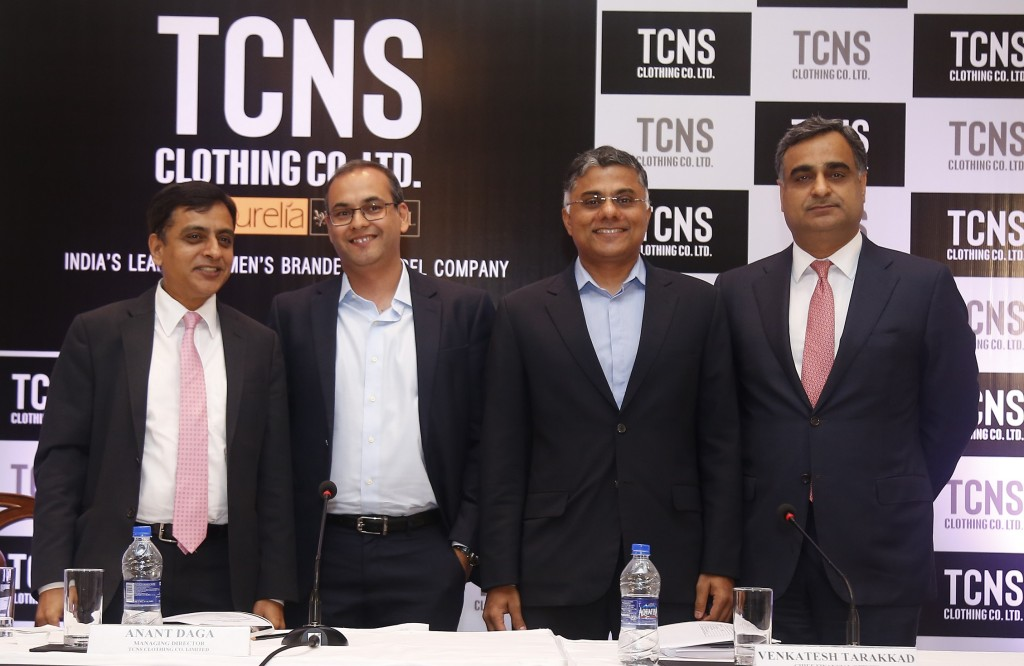 (L-R): Mr. V Jayasankar (Kotak Mahindra Capital Company Limited), Mr. Anant Daga (Managing Director, TCNS Clothing Co. Limited), Mr. Venkatesh Tarakkad (Chief Financial Officer, TCNS Clothing Co. Limited) and Mr. Ravi Kapoor (Citigroup) at TCNS Clothing Co Limited IPO Press Conference held today in Mumbai.(Pic By GPN)