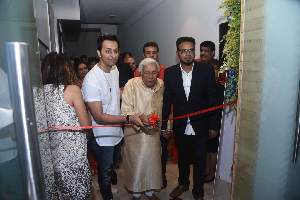 Inauguration Ribbon cutting of Blue Cassette Studios by Salim Merchant (Renowned Singer & Music Composer), (Padmavibhushan) Ustad Ghulam Mustafa Khan and Jimmy Joy (Founder and Singer/Producer, Blue Cassette Sound)