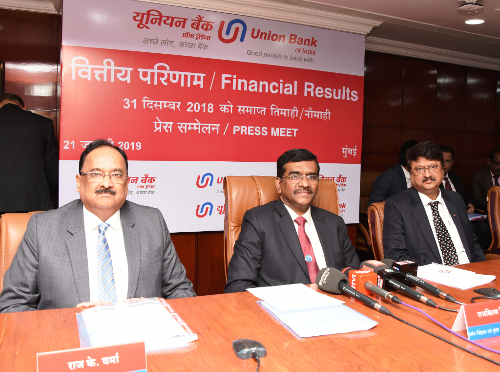Seen in the photograph is Shri Rajkiran Rai G, Managing Director & CEO, Union Bank Of India, flanked by Shri R.K.Verma, & Shri Dinesh Kumar Garg Executive Directors, Union Bank of India at the press conference held in Mumbai on the occasion of announcement of Q-3 Financial Results for the Quarter/ Nine months ended December 31, 2018 - By Sachin Murdeshwar GPN News Network