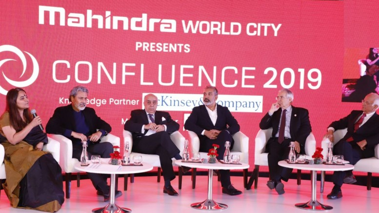 Sangeeta Prasad, Rajeev Dubey, Arun Nanda, Vishaan Chakrabarti, Lord Nicholas Stern, Arun Maira during the session Crafting the Future at Confluence 2019 - By Sachin Murdeshwar GPN News Network