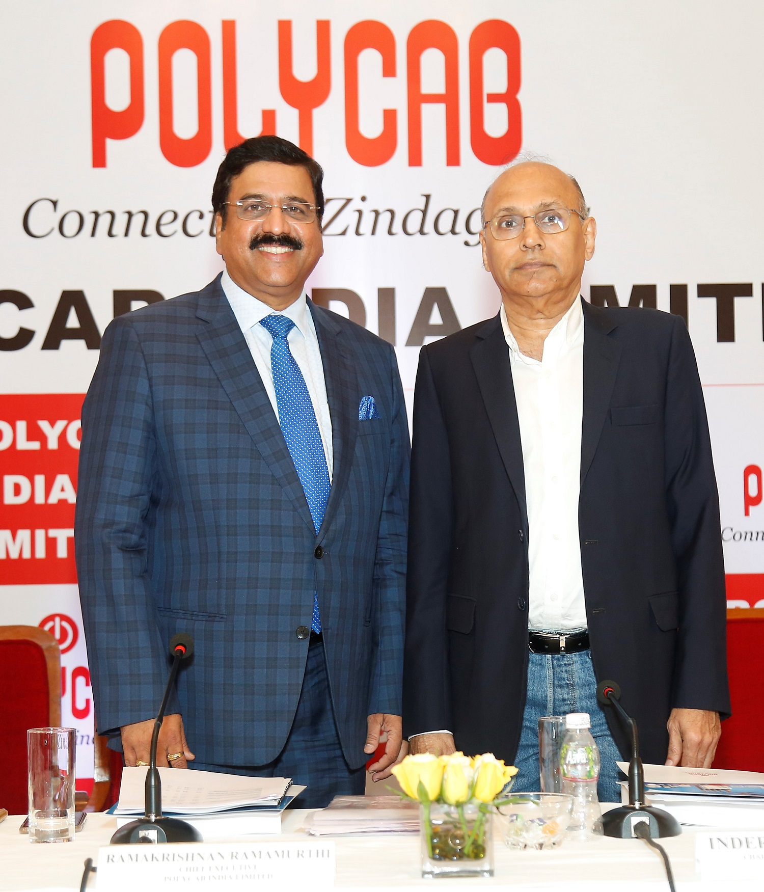 (L-R) – Mr. Ramakrishnan Ramamurthi (Chief Executive) and Mr. Inder T. Jaisinghani (Chairman and Managing Director) from Polycab India Ltd at the press conference in Mumbai to announce the company's forthcoming IPO.- Photo By Sachin Murdeshwar GPN News Network