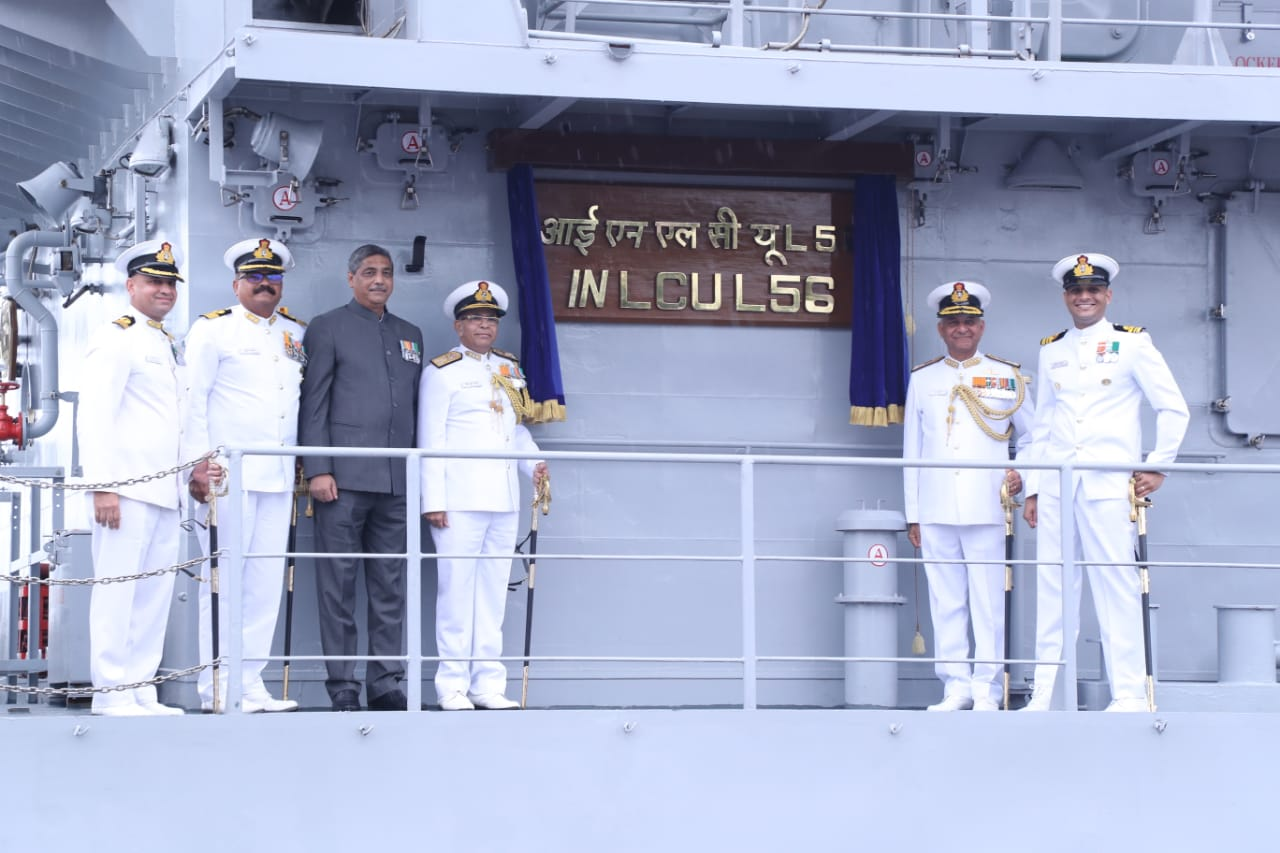 1-Photo Caption GRSE built 100th Warship IN LCU L-56 Commissioned today at Visakhapatnam