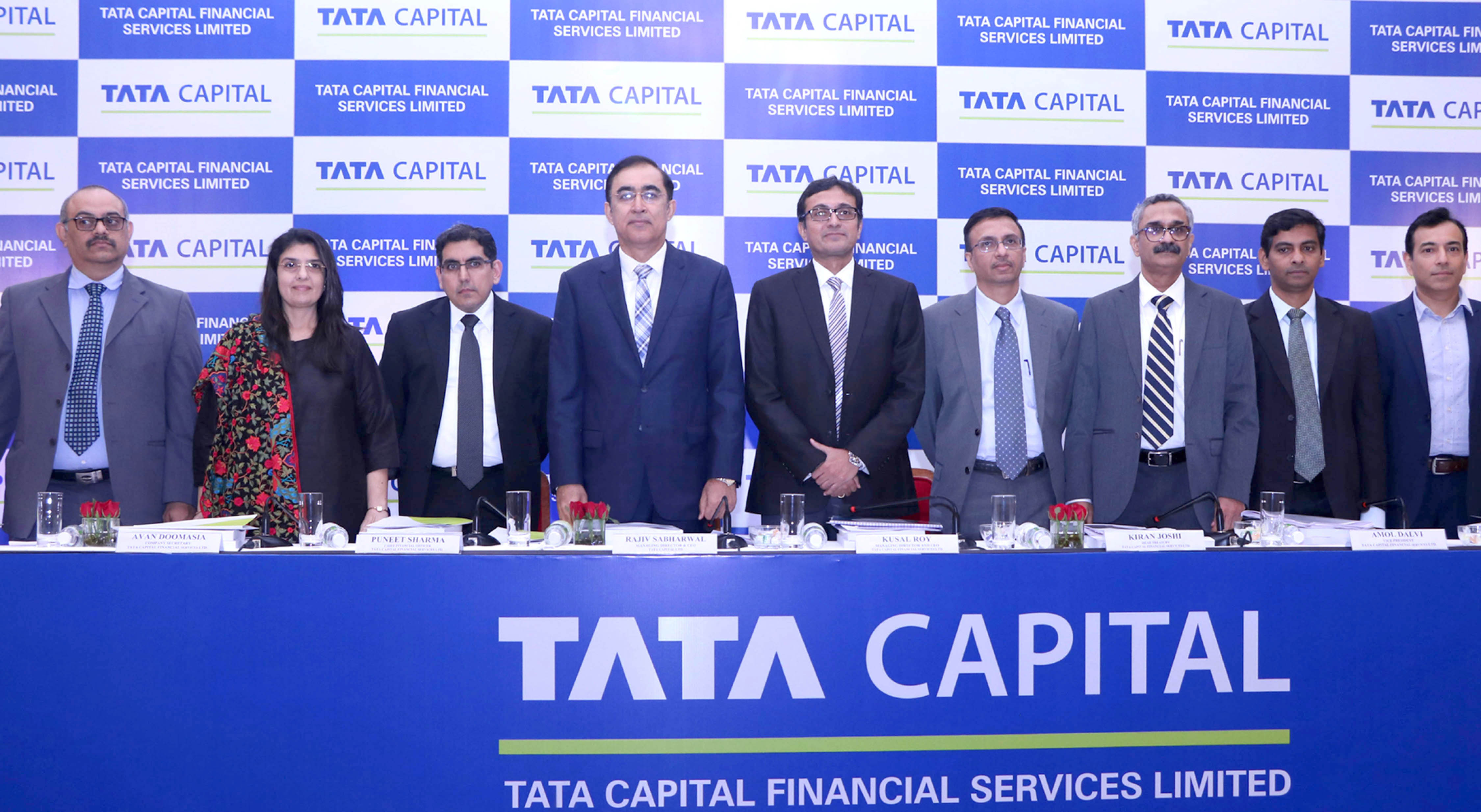 (L-R) Vinay Pai (Edelweiss Financial Services Limited), Avan Doomasia (Company Secretary, Tata Capital Financial Services Ltd.), Puneet Sharma (Chief Financial Officer, Tata Capital Financial Services Ltd.), Rajiv Sabharwal (Managing Director & CEO, Tata Capital Ltd.), Kusal Roy (Managing Director & CEO, Tata Capital Financial Services Ltd.), Kiran Joshi (Head Treasury, Tata Capital Financial Services Ltd.), Amol Dalvi (Vice President, Tata Capital Financial Services Ltd.), Vikas Shinde (Axis Bank Limited), Harit Oberoi (A.K. Capital Services Ltd.) at the announcement of Tata Capital Financial Services Limited NCD issue - Photo By Sachin Murdeshwar/GPN