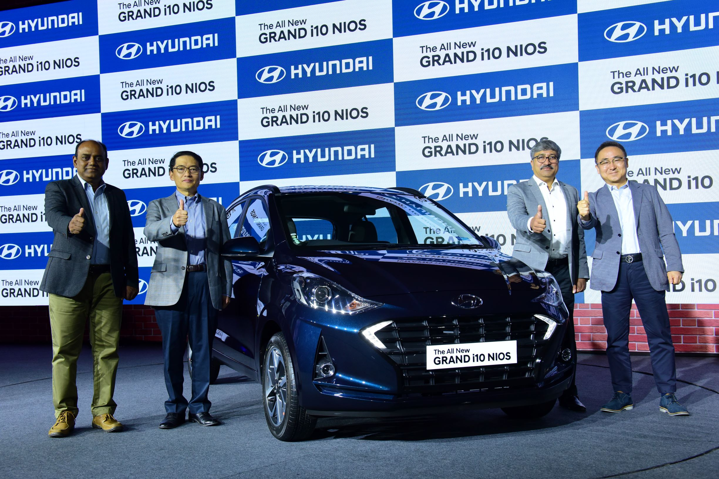 (L to R) Mr. S.S. Kim, MD & CEO, HMIL and Mr. S Punnaivanam, Vice President – National Service, HMIL along with Mr. S J Ha, ED- Sales & Marketing, HMIL and Mr. Vikas Jain, National Sales Head, HMIL at the Launch of Hyundai The GRAND i10 NIOS in New Delhi.- Photo By GPN