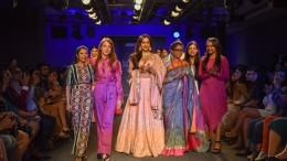 Models walk the ramp during day 5 of LFWWF19, Show 5 6 degree :  Kraft Corridor held at St.Regis in Mumbai on 25th of August 2019.   Photo : Focus Sports/ LFWWF2019/ IMGR