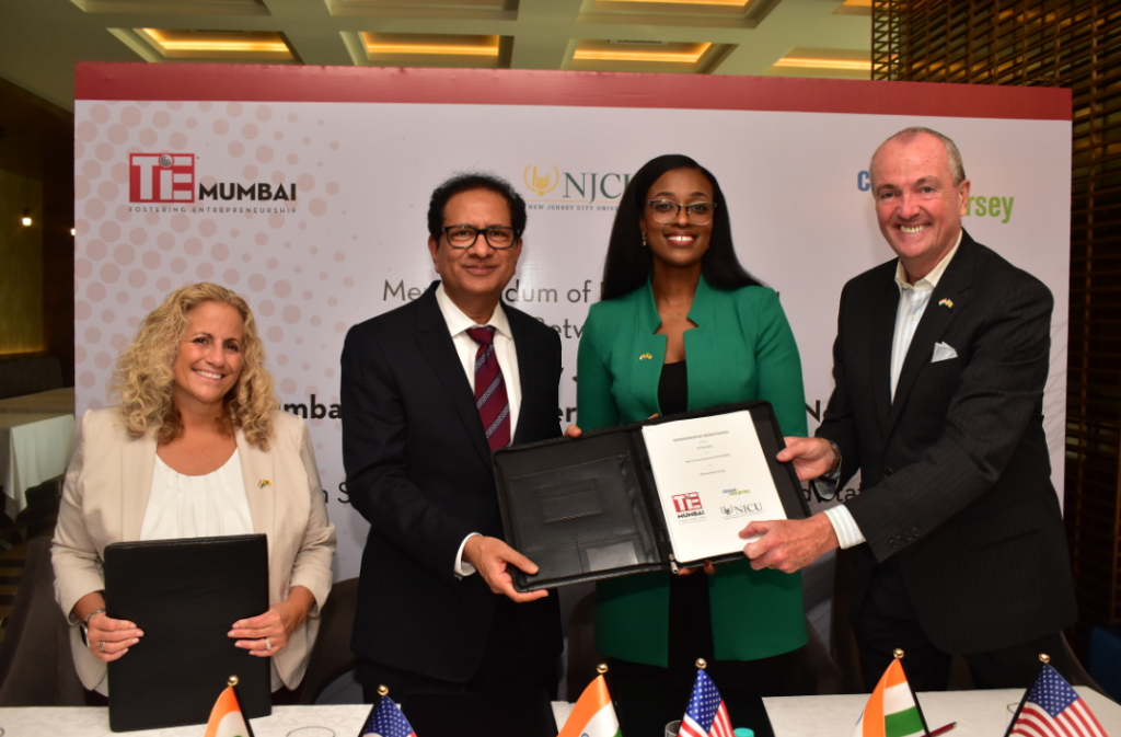 L-R Ms. Margie Piliere, Chief Economic Development Officer at Choose New Jersey, Mr.Atul Nishar, President, TiE Mumbai, Ms. Tamara Cunningham, Assistant Vice President for Global Initiatives  and New Jersey Governor, Phil Murphy.- Photo By Sachin Murdeshwar GPN