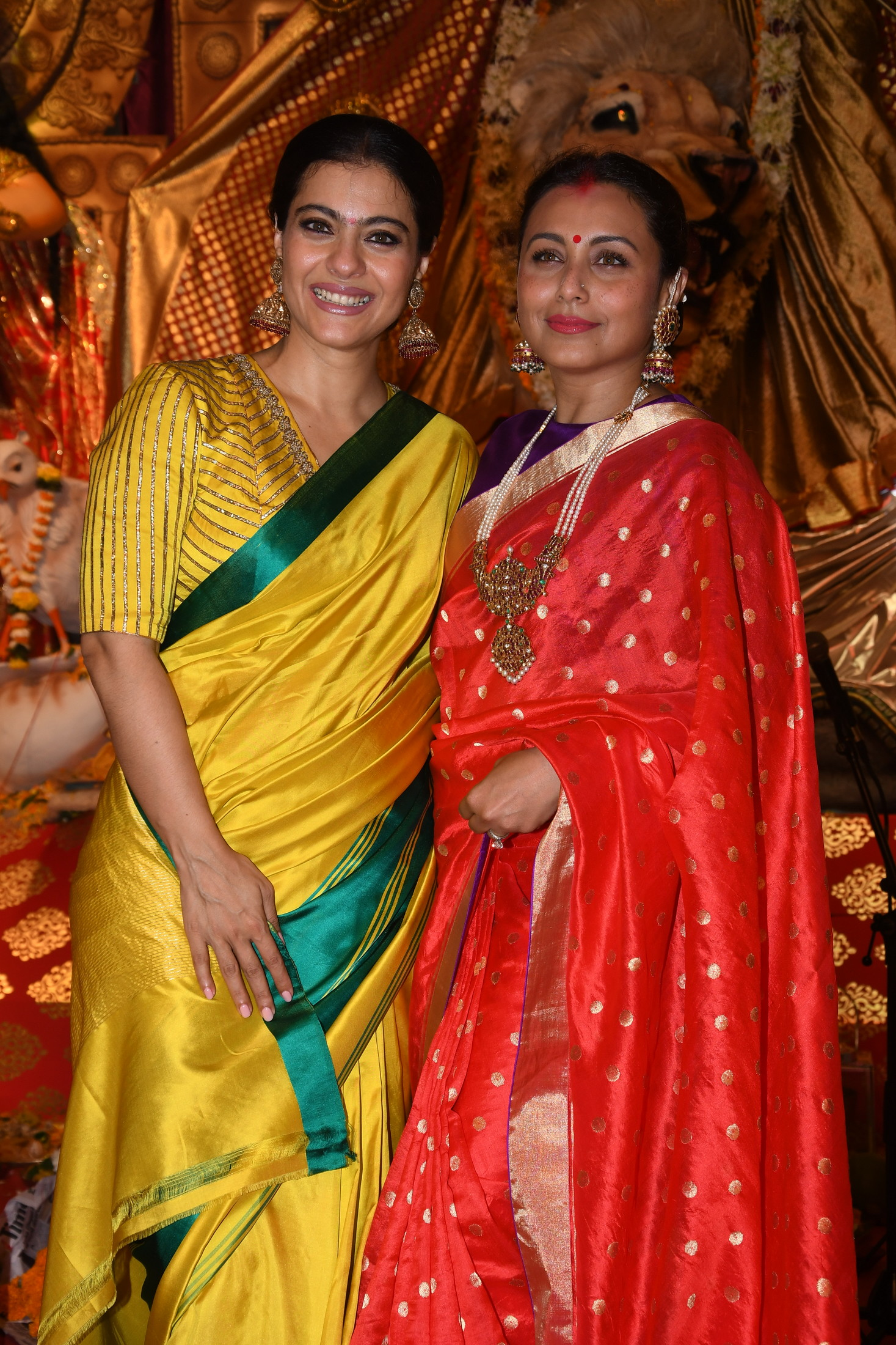 Kajol Devgan with Rani Mukherjee at North Bombay Sarbojanin Durga Puja Samiti's DURGA PUJA -Photo By Sachin Murdeshwar / GPN