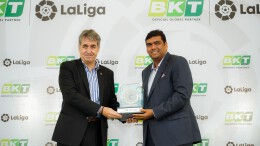 "From L to R – Mr. Jose Antonio Cachaza – Managing Director – LaLiga India and Mr. Rajiv Poddar – Joint Managing Director – Balkrishna Industries Ltd. (BKT) at the partnership announcement that will see BKT as ""Official Global Partner of LaLiga"" for three years until the end of the 2021/2022 season in Mumbai - Photo By Sachin Murdeshwar / GPN"