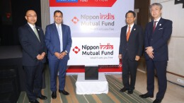 Mr. Hiroshi Shimizu, President, Nippon Life Insurance Company 2nd From Right with Mr. Sundeep Sikka, ED and CEO, Nippon India Mutual Fund 2nd From Left -Photo By Sachin Murdeshwar GPN